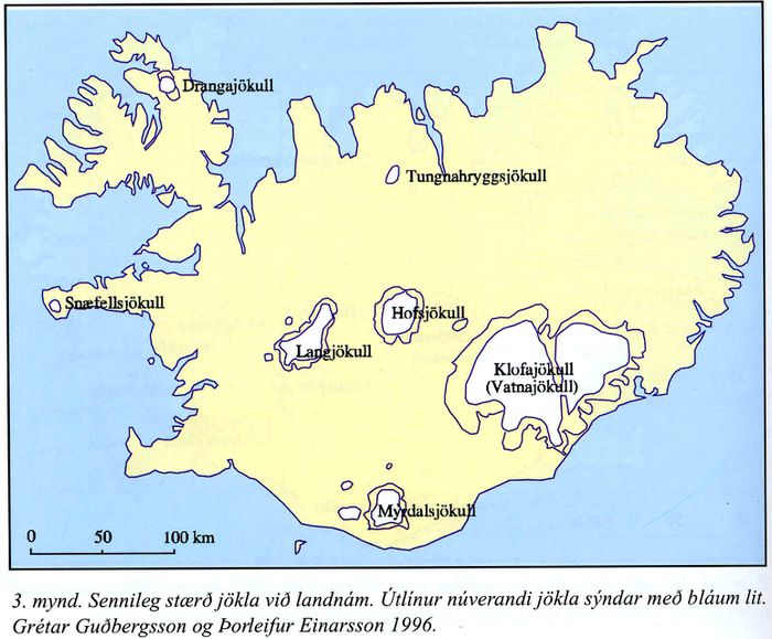 Glaciers in Iceland 1000 years ago