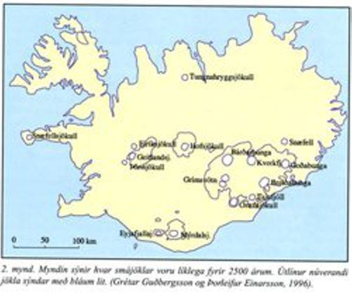 galciers in iceland 2500 years ago