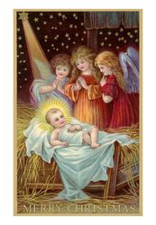 merry christmas angels admiring baby jesus posters