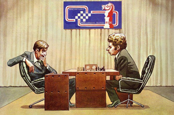 Fischer vs. Spassky    cartoon buy Halldór Pétursson 1972. Spassky    ky...