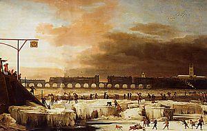 Ísilögð Thames árið 1677.