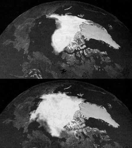 Norðurpóllinn árið 2001 og 2007 (NASA)