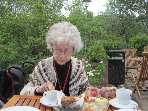 Sólveig Eggerz Pétursdóttir á góðri stund í Laugardalsgarðinum 2015