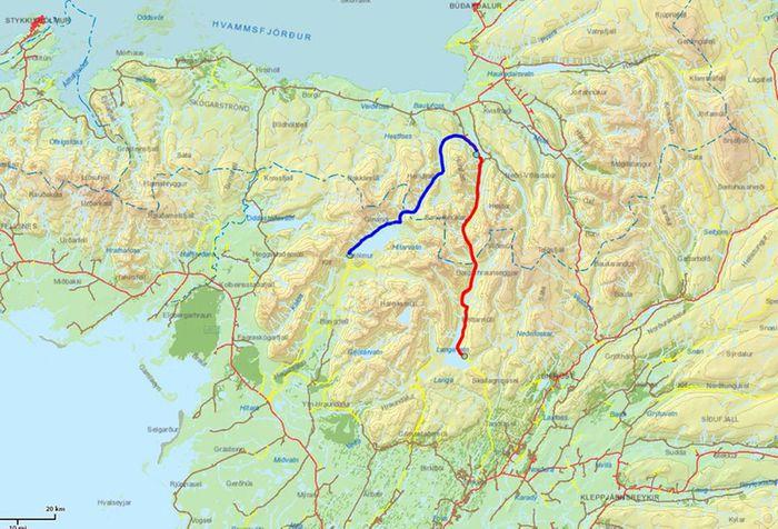 Langavatn > Seljaland > Hítarvatn