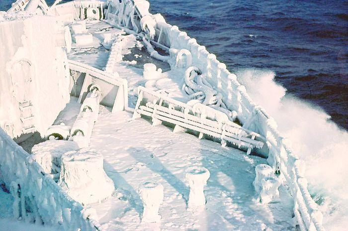 ice coated ship