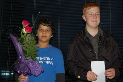 Arjun Bharat who won the junior prize and Mikael Jóhann Karlsson