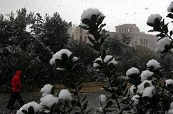 Snow on Acropolis