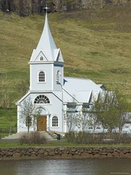 698-2153~Blue-Lutheran-Church-Seydisfjordur-Ferry-Terminal-Village-North-East-Area-Iceland-Polar-Regions-Posters