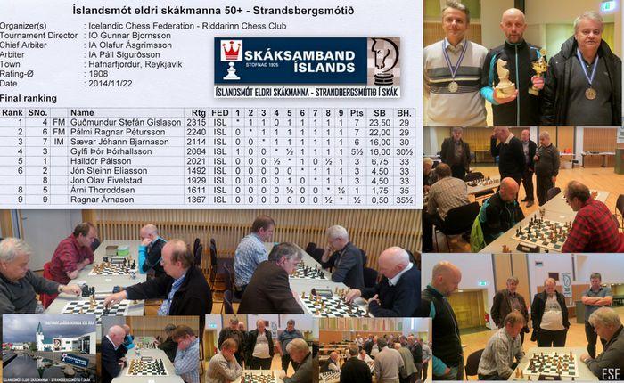 Íslandsmót eldri skákmanna 2014   50+ mótstafla  ESE 22.11.2014 22 50 15