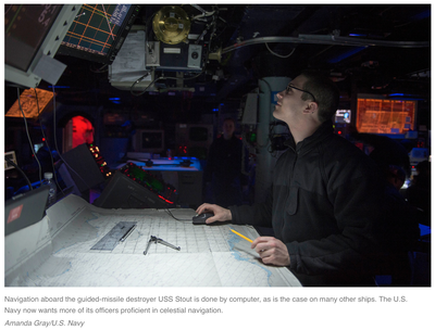 Navigation aboard the guided-missile destroyer USS Stout