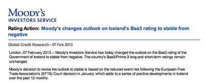 Moody's changes outlook on Iceland's Baa3 rating to stable from negative