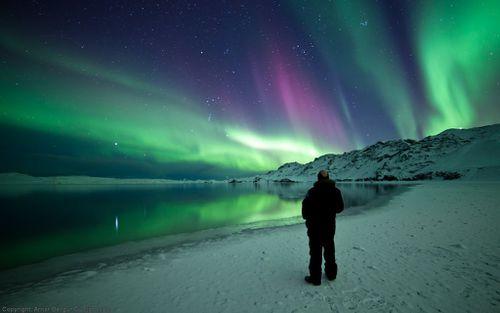 Norðurljós yfir Kleifarvatni