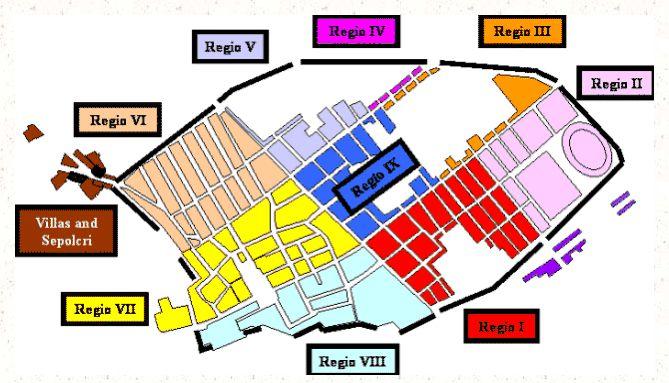 Kort af Pompeii