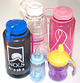 These polycarbonate bottles and cups are made from BPA.